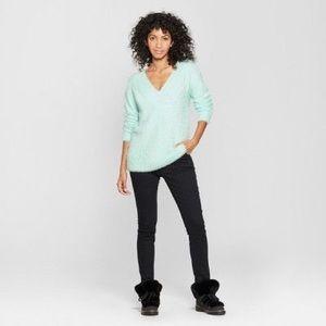 A New Day Mint Eyelash Fuzzy V Neck Sweater Plus